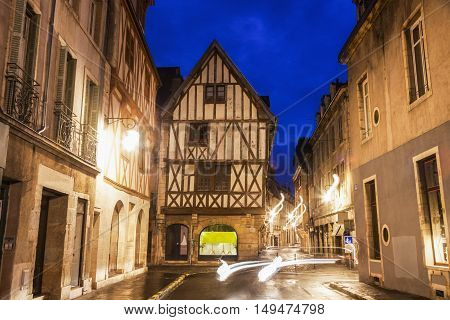 Dijon Old Town at night. Dijon Burgundy France