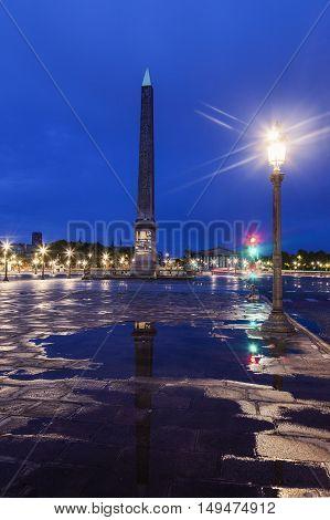 Obelisk of Luxor on Place de la Concorde in Paris. Paris France