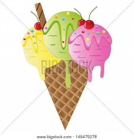 Set of colorful tasty isolated ice cream.