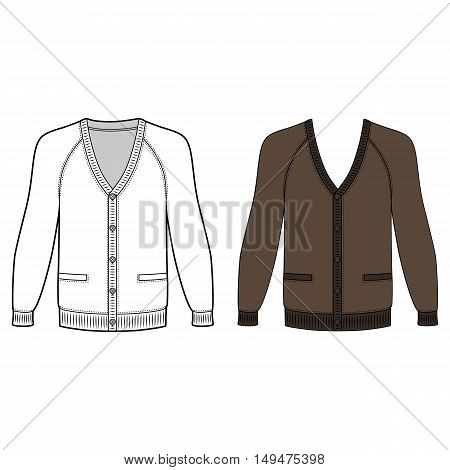 Blank long sleeve raglan cardigan outlined template (front view) vector illustration isolated on white background
