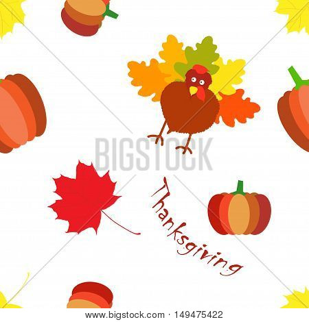 Thanksgiving day seamless colorful pattern with cartoon pumpkin, leaves, turkey
