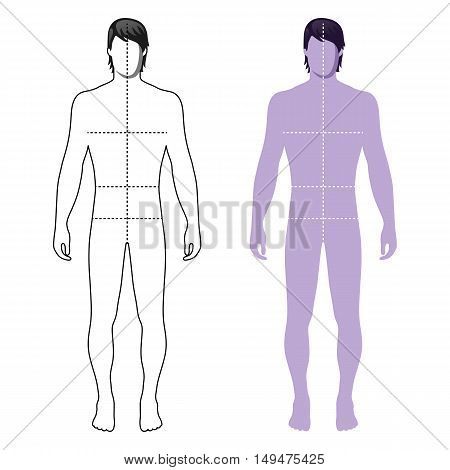Fashion man full length outlined template figure silhouette with marked body's sizes lines (front view) vector illustration isolated on white background