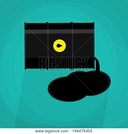 black metal oil barrel with logo icon with green background. illustration in flat style