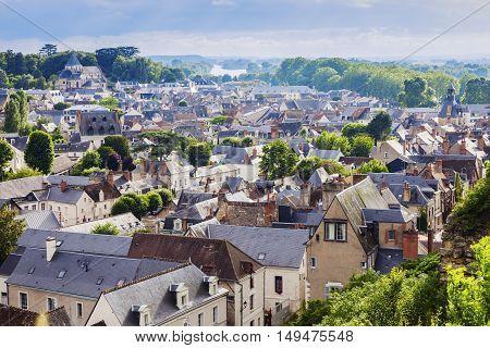 Amboise panorama - aerial view. Amboise Pays de la Loire France