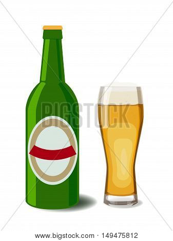 A bottle of beer a glass of beer and a beer label. Vector illustration of beer isolated. Oktoberfest