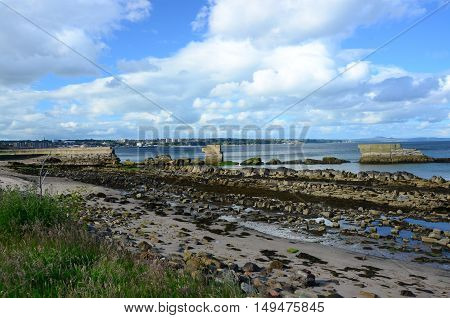 A view of the old breakwater wall at Seafield beach in Kirkcaldy