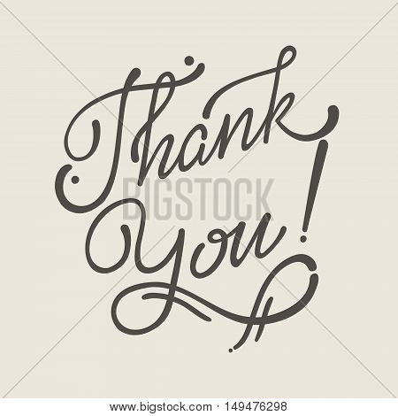 Thank You Hand lettering handmade vector soft calligraphy.
