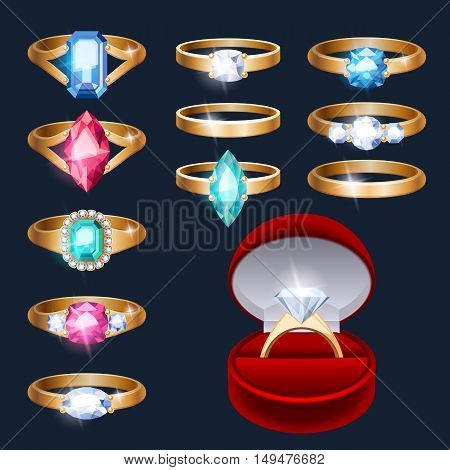 Realistic rings with gemstones jewelry accessories icons set. Jewelry box with engagement diamond ring vector illustration.