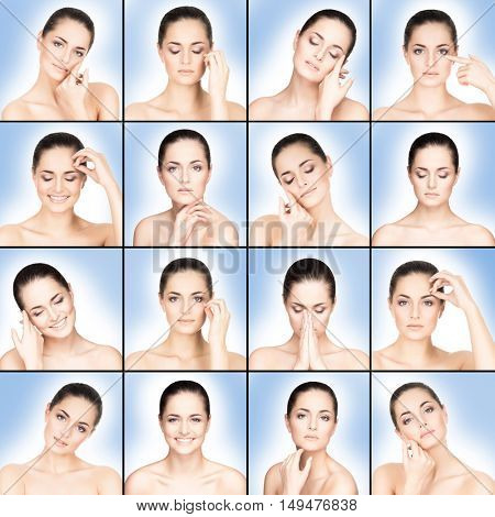 Collection of portraits of beautiful girl over blue background. Skincare concept.
