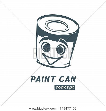 Paint can vector cartoon sketch. Paint products logo concept. Varnish bank.
