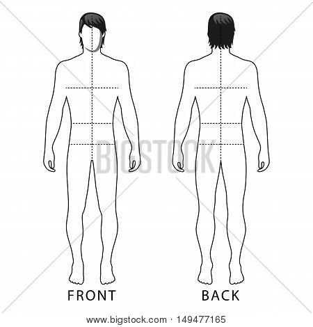 Fashion man full length outlined template figure silhouette with marked body's sizes lines (front & back view) vector illustration isolated on white background
