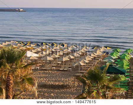 the road to the city beach Rethymno Crete Greece
