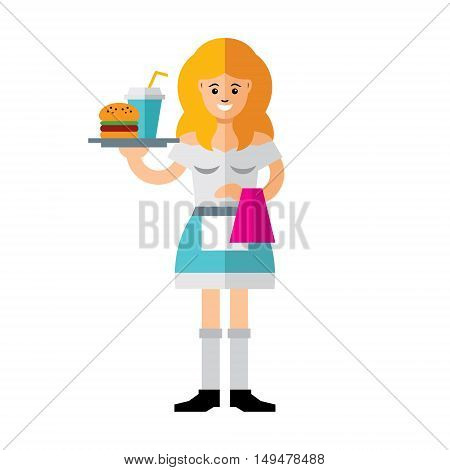 Woman with a tray of food. Isolated on white background