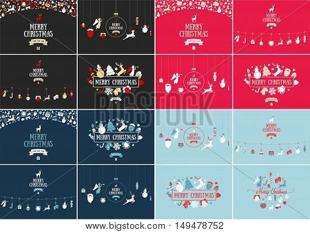 Merry Christmas decoration, card design. Happy New Year design elements. Vintage icons of colourful deer, bell, snowflake, ribbon, bow, tree, snowman. Holiday hand drawn vector art. Great mega set.