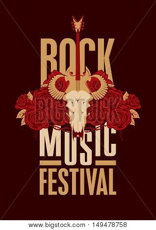 banner poster for festival rock music with goat skull roses and electric guitar