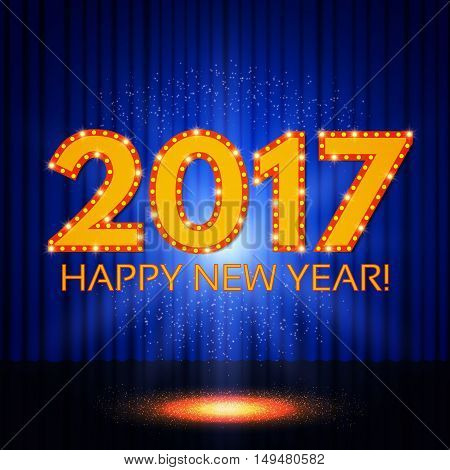 Happy New 2017 Year On Blue Curtain