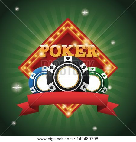 Chips icon. Poker casino and las vegas theme. Colorful design. Vector illustration