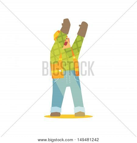 Builder Signaling On Construction Site. Graphic Design Cool Geometric Style Isolated Character On White Background