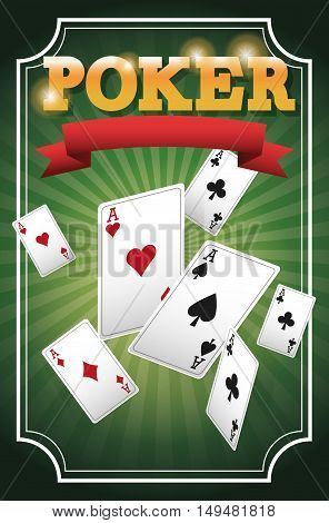 cards of poker icon. Casino and las vegas theme. Colorful design. Vector illustration