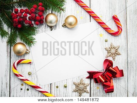 Christmas Background - Blank Paper With Decoration