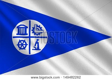 Flag of Minneapolis is the county seat of Hennepin County in Minnesota of United States. 3D illustration
