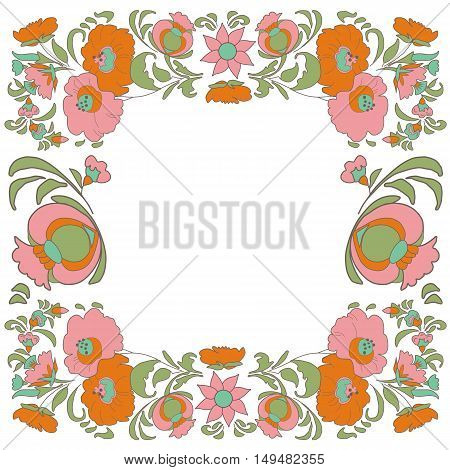 Ethnic flowers Floral folk art vorder Folkart Flower pattern Vintage background Vector illustration Ethnic decoration flowers folk ethnic theme Card exotic Fabulous floral pattern