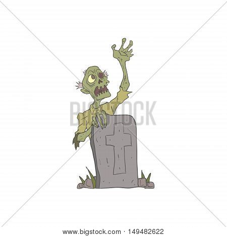 Raising From The Grave Creepy Zombie With Rotting Flesh Outlined Hand Drawn Adult Style Illustration Isolated On White Background