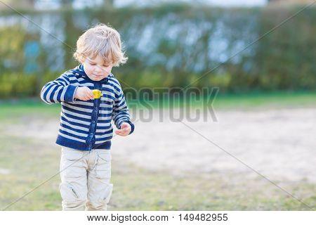 Portrait of toddler boy having fun on outdoor playground.
