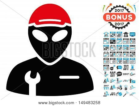 Alien Serviceman icon with 2017 year bonus vector design elements. Collection style is flat symbols, white background.