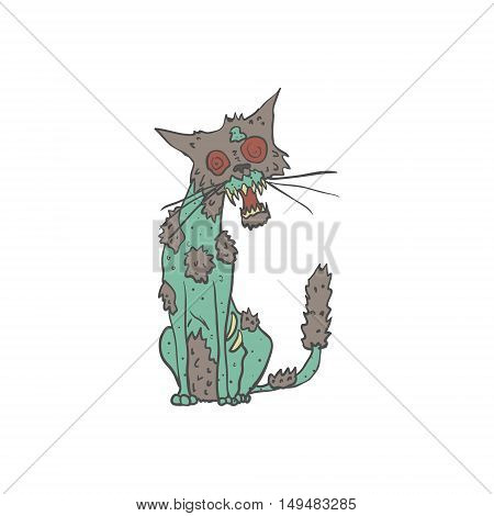 Cat Creepy Zombie With Rotting Flesh Outlined Hand Drawn Adult Style Illustration Isolated On White Background