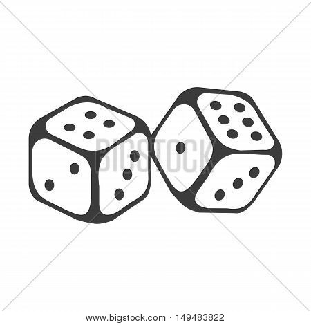 Dice Icon. Dice Vector Isolated On White Background. Flat Vector Illustration In Black. Eps 10