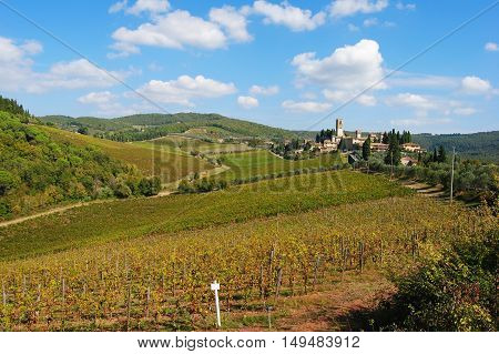 Chianti scenery with Badia a Passignano in the background