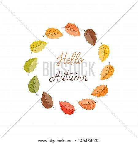 Vector greeting card with autumn wreath. Colorful leaves and monoline lettering isolated on white background. Perfect for seasonal holidays Thanksgiving Day.