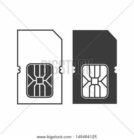 Sim card icon. Sim card Vector isolated on white background. Flat vector illustration in black. EPS 10
