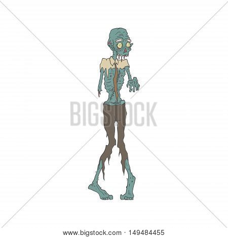 Creepy Zombie Wearing Tie With Rotting Flesh Outlined Hand Drawn Adult Style Illustration Isolated On White Background