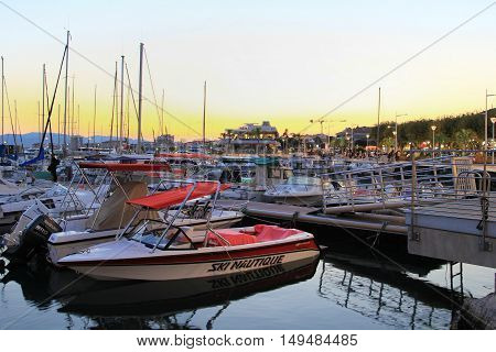 Saint-raphael, France, 26 Aug. 2016: Boats Moored At Sunset In The Harbour At The Provencal Port Of