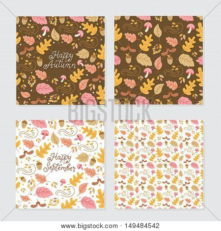 Vector set of autumn greeting cards and backgrounds. Seamless pattern autumn monoline lettering autumn elements.