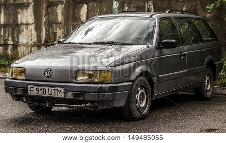 Kazakhstan, Ust-Kamenogorsk, september 30, 2016: Volkswagen Passat, old car, old german car in the street, vintage car