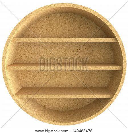 Empty circle chipboard shelf isolated on white background