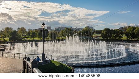 the largest in Moscow fountain with light dynamic music with a diameter of 55 meters in the palace and park ensemble Tsaritsyno in Moscow
