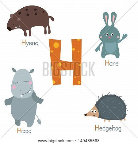 Cute vector zoo alphabet. Funny cartoon animals: hyena hare hippo hedgehog.