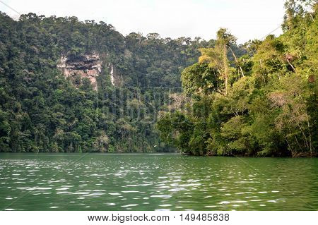Rio Dulce landscapes seen from the boat near Livingston Guatemala