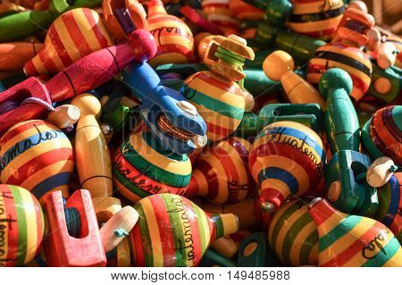 Traditional wooden handicrafts made by Maya people in Antigua Guatemala