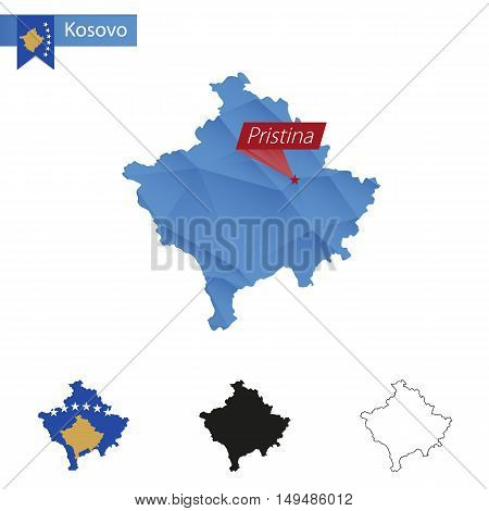 Kosovo Blue Low Poly Map With Capital Pristina.
