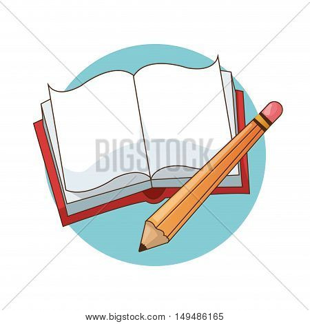 Book and pencil icon. Back to school education and childhood theme. Colorful design. Vector illustration