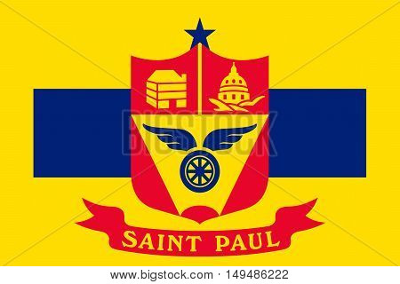 Flag of Saint Paul is the capital city of Minnesota state United States