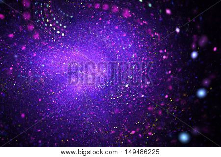 Bright nebula. Abstract shining sparks on black background. Fantasy fractal design in pink purple and blue colors. Digital art. 3D rendering.