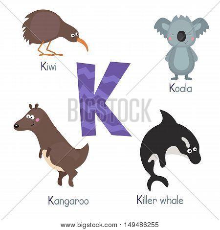 Cute vector zoo alphabet. Funny cartoon animals: kiwi koala kangaroo killer whale.