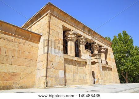 Main building of ancient egyptian temple of Debod in Madrid, Spain