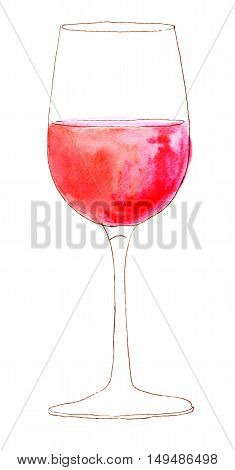 A freehand ink and watercolour glass of rose wine, hand painted on white background